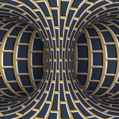 Moving torus of blue beige brickwork pattern. Vector hypnotic optical illusion illustration.