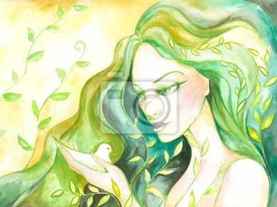 Mrs.Spring Aquarell gemalt.