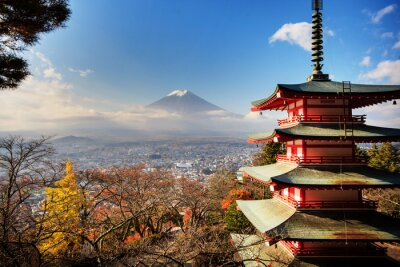 Bild Mt. Fuji mit Farben fallen in Japan.