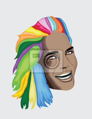 Multi farbige Haare Frau