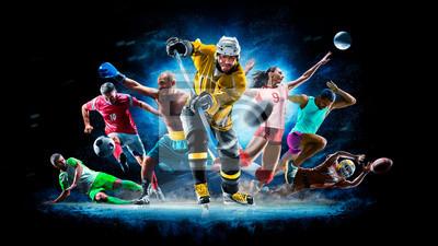 Bild Multi sport collage football boxing soccer voleyball ice hockey on black background