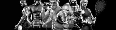 Bild Multi Sport Spieler Collage isoliert auf schwarzem Hintergrund. Platz kopieren Sport-Konzept.