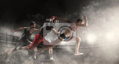 Bild Multi sports collage about basketball, American football players and fit running woman