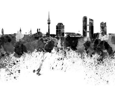 Bild Munich skyline in black watercolor on white background