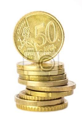 Münzstapel Mit 50 Cent Münze Auf Der Spitze Leinwandbilder