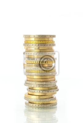 Münzturm Aus 2 Und 1 Euro Bzw 50 Cent Münzen Auf Weiß Isoliert