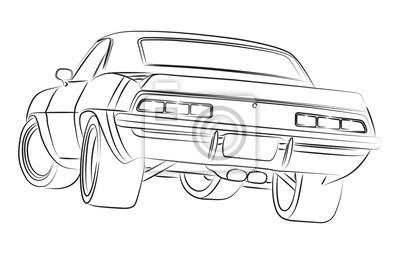 Muscle Car Zeichnung Leinwandbilder Bilder Auto Steuer Muskel