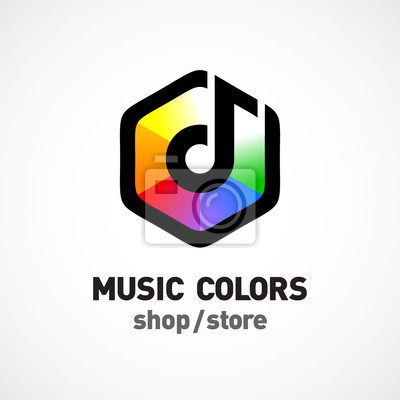 Music colors logo template. colorful hex sign. leinwandbilder ...