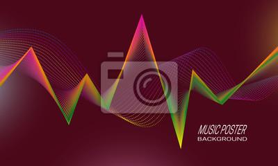 Music poster background design. Rhythm pulsation concept backdrop template.