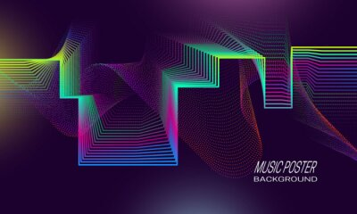Music poster background dynamic design. Pulsation indicator backdrop template.