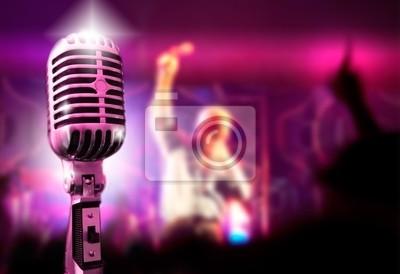 Musik-Hintergrund mit Mikrofon und Konzert