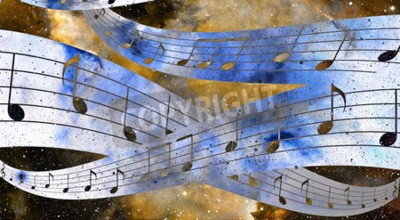 Bild Musik-Note und Raum und Sterne mit abstrtact Farbe Hintergrund