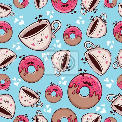 Muster Kaffee und Donut