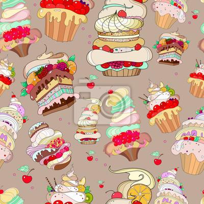 bild muster mit dem bild der fantastischen kuchen - Kuchen Muster