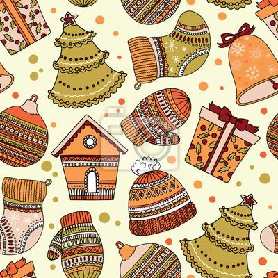 Bild Muster mit Weihnachten Elemente. Kann für Desktop-Tapeten oder Rahmen für eine Wand hängen oder Poster, für Muster füllt, Oberflächenstrukturen, Web-Seite Hintergrund, Textil und vieles mehr verwendet
