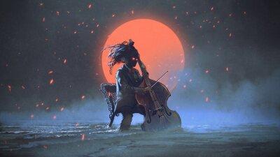 Bild mysteriöser Mann, der auf einem Stuhl spielt das Cello im Meer aginst den nächtlichen Himmel mit dem roten Mond, digitale Kunstart, Illustrationsmalerei sitzt