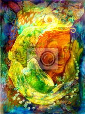 Mystic bright green water fairy, beautiful colorful fantasy