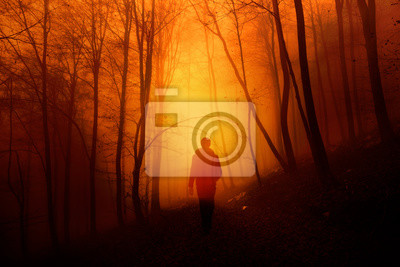 Mystical orange red foggy light in forest with a walking man.