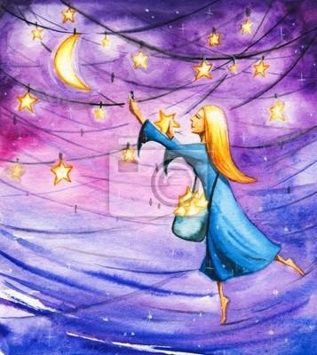 Nacht hängen Sterne am Himmel.