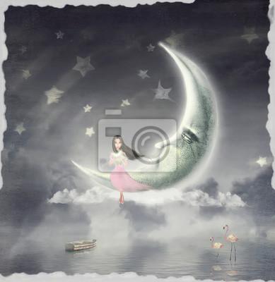 Nacht. Zeit der Wunder und Magie. Die Abbildung zeigt ein Mädchen, das auf dem Mond sitzt und der Stern in seinen Händen hält