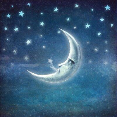 Bild Nacht Zeit mit Sternen und Mond, Hintergrund