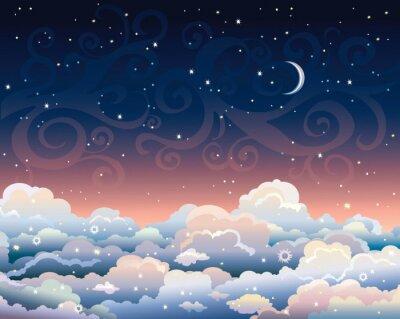 Bild Nachthimmel mit Wolken und Mond.