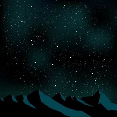 Bild Nachthimmel Sterne, Berglandschaft, Vektor-Illustration
