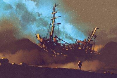 Bild Nachtszene des verlassenen Schiffes auf der Wüste mit Stary Himmel, Illustration Malerei