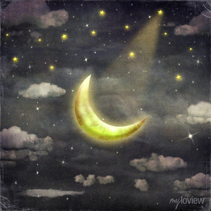 Bild Nachtzeit mit Sternen und Mond