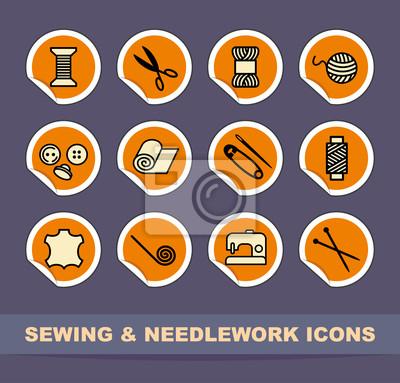 Näh-und Handarbeiten Symbole auf Aufklebern
