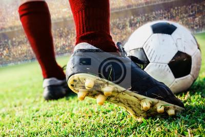 Nahaufnahme Fußball Fußball kick den Ball