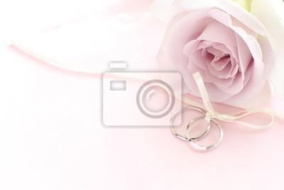 Nahaufnahme Von Lila Rose Und Paar Ringe Fur Hochzeit Leinwandbilder