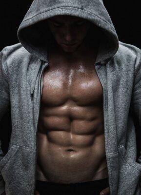 Bild Nahaufnahme von Muskelsport Mann nach Trainingsgewichte