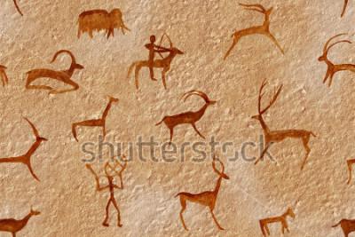 Bild Nahtlos zeichnen in einer Höhle, gemalt von einem alten Mann an der Wand, einem Felsen. Malt rot orange ocker. Jagd auf ein Tier. Schamane, Ureinwohner, Neandertaler, Rogen, Widder, Schiff, Mammut, Hi