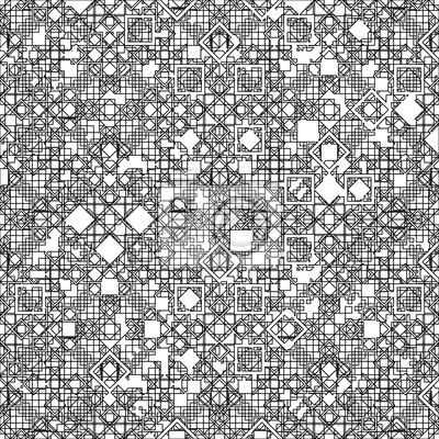 Nahtlose geometrische Muster mit schwarzen Linien.