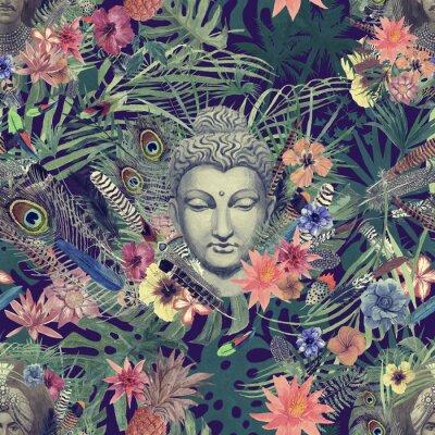 Bild Nahtlose Hand gezeichnetes Aquarellmuster mit Buddha-Kopf, Maharadscha, Blumen, Federn, Palmen.