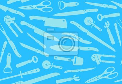 Nahtlose Hintergrund mit Küchenmessern