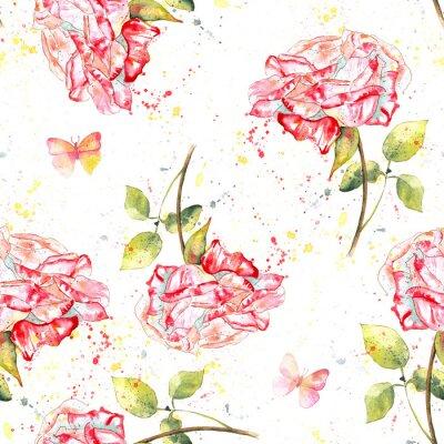 Bild Nahtlose Hintergrundmuster mit Aquarell Rosen, Spritzer und Schmetterlinge