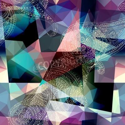 Bild Nahtlose Hintergrundmuster. Nachahmung der Kubismus-Art-Malerei.