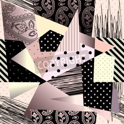 Bild Nahtlose Hintergrundmuster. Will Fliesen endlos. Zusammenfassung geometrischen Hintergrund im Kubismus-Stil.