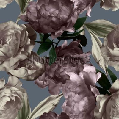 Bild nahtlose mit Blumenmuster der einfarbigen Grafik und des Aquarells der Kunstweinlese mit den weißen und purpurroten Pfingstrosen auf grauem Hintergrund