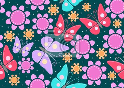 Nahtlose Muster der Schmetterlinge und Blumen
