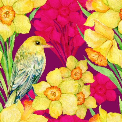 Bild Nahtlose Muster .Illustration Aquarell, Blumen, Wildblumen, Narcissus und Vogel Oriole