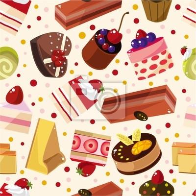 Nahtlose Muster Kuchen Leinwandbilder Bilder Muffin Cupcake
