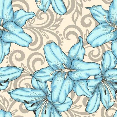Bild Nahtlose Muster mit blauen Lilien Blumen und abstrakte Blumen wirbelt