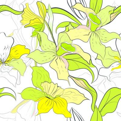 nahtlose Muster mit Blumen Narzissen