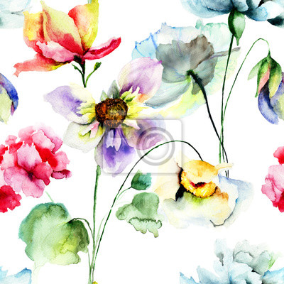 Nahtlose Muster mit bunten wilden Blumen
