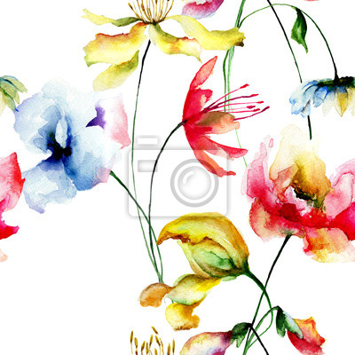 Nahtlose Muster mit dekorativen Blumen