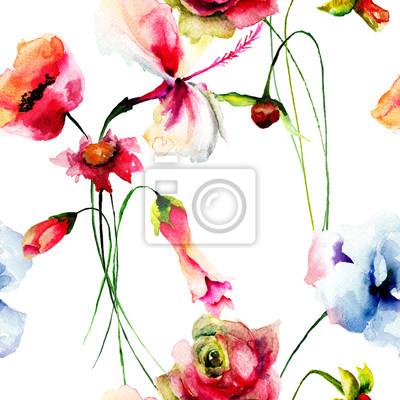Nahtlose Muster mit dekorativen Sommerblumen
