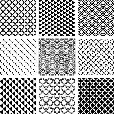 Nahtlose Muster mit Fisch Skala Motiv gesetzt.